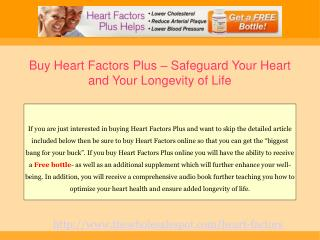 Heart Factors Plus Supplement Safeguarding Heart Health
