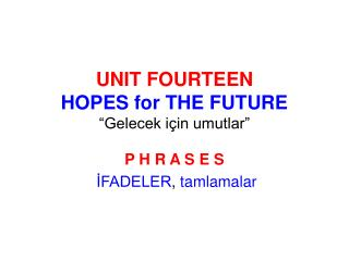 UNIT FOURTEEN HOPES for THE FUTURE  Gelecek i in umutlar