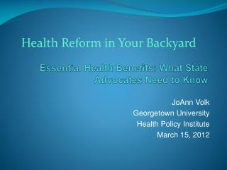 Essential Health Benefits: What State Advocates Need to Know