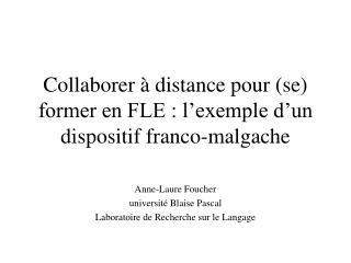 Collaborer   distance pour se former en FLE : l exemple d un dispositif franco-malgache