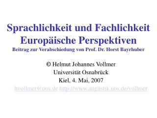 Sprachlichkeit und Fachlichkeit   Europ ische Perspektiven  Beitrag zur Verabschiedung von Prof. Dr. Horst Bayrhuber