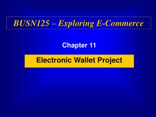 Electronic Wallet Project