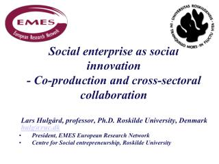 Social enterprise as social innovation  - Co-production and cross-sectoral collaboration