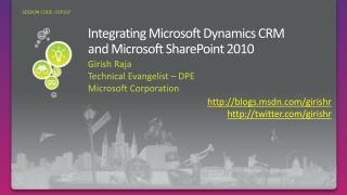 Integrating Microsoft Dynamics CRM  and Microsoft SharePoint 2010