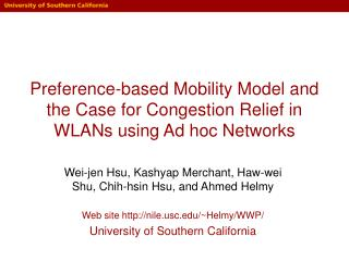 Preference-based Mobility Model and the Case for Congestion Relief in WLANs using Ad hoc Networks