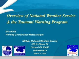 Overview of National Weather Service  the Tsunami Warning Program