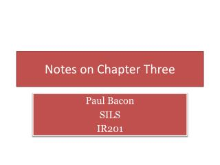 Notes on Chapter Three