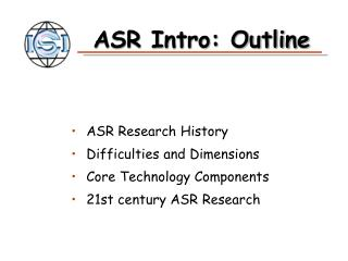 ASR Intro: Outline