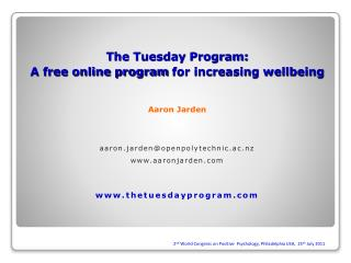 The Tuesday Program: A free online program for increasing wellbeing