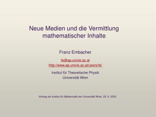 Neue Medien und die Vermittlung mathematischer Inhalte