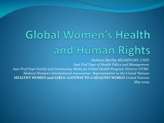 Global Women s Health and Human Rights
