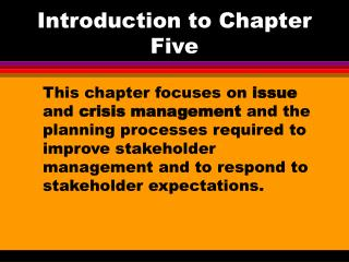 Introduction to Chapter Five