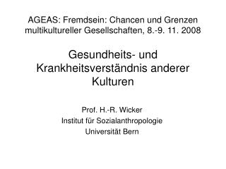 AGEAS: Fremdsein: Chancen und Grenzen multikultureller Gesellschaften, 8.-9. 11. 2008  Gesundheits- und Krankheitsverst
