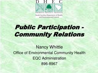 Public Participation - Community Relations