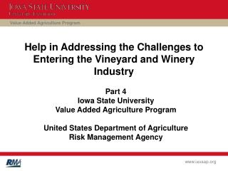 Help in Addressing the Challenges to Entering the Vineyard and Winery Industry