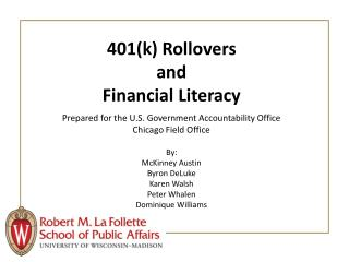 401k Rollovers  and  Financial Literacy