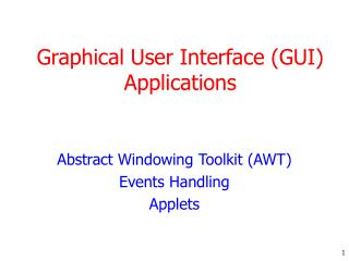 Graphical User Interface GUI Applications