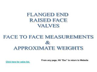 FLANGED END   RAISED FACE  VALVES   FACE TO FACE MEASUREMENTS   APPROXIMATE WEIGHTS