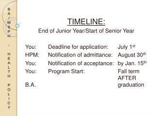 Timeline: End of Junior Year