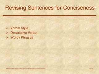 Revising Sentences for Conciseness