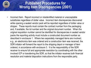 Published Procedures for  Wrong Item Discrepancies 2001