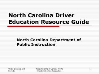 North Carolina Driver Education Resource Guide