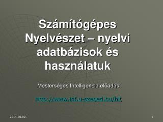 Sz m t g pes Nyelv szet   nyelvi adatb zisok  s haszn latuk