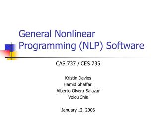 General Nonlinear Programming NLP Software