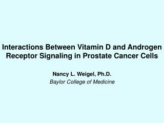Interactions Between Vitamin D and Androgen Receptor Signaling in Prostate Cancer Cells
