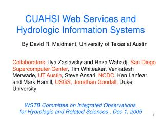 CUAHSI Web Services and Hydrologic Information Systems