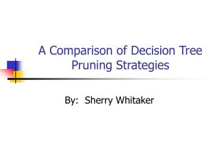 A Comparison of Decision Tree Pruning Strategies