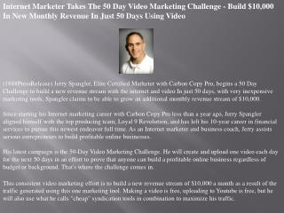 Internet Marketer Takes The 50 Day Video Marketing Challenge