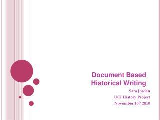 Document Based Historical Writing