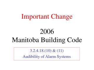 2006 Manitoba Building Code
