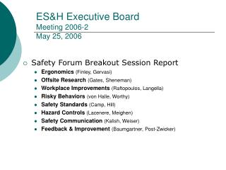ESH Executive Board  Meeting 2006-2 May 25, 2006