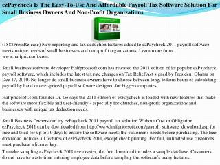 ezPaycheck Is The Easy-To-Use And Affordable Payroll Tax Sof