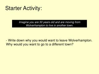 Starter Activity: