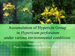 Accumulation of Hypericin Group  in Hypericum perforatum  under various environmental conditions