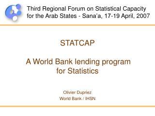 STATCAP   A World Bank lending program  for Statistics