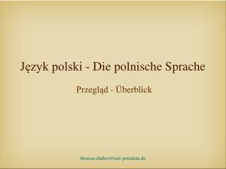 Jezyk polski - Die polnische Sprache
