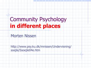 Community Psychology in different places