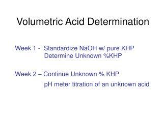 Volumetric Acid Determination