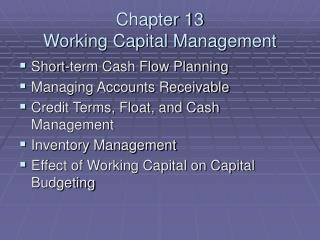 Chapter 13 Working Capital Management