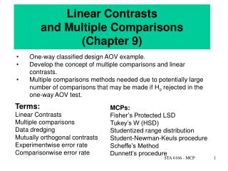 Linear Contrasts  and Multiple Comparisons Chapter 9