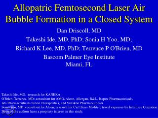 Allopatric Femtosecond Laser Air Bubble Formation in a Closed System