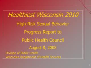 Healthiest Wisconsin 2010 High-Risk Sexual Behavior Progress Report to  Public Health Council August 8, 2008