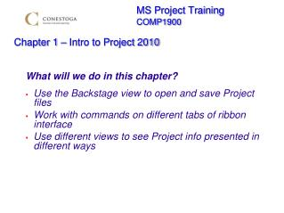 MS Project Training        COMP1900  Chapter 1   Intro to Project 2010