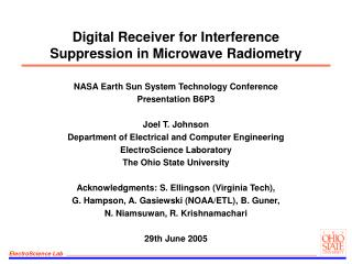 Digital Receiver for Interference Suppression in Microwave Radiometry