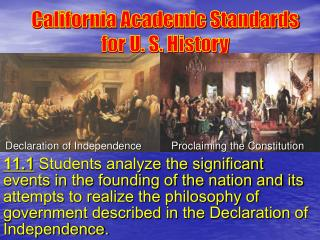 California Academic Standards for U. S. History