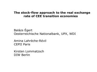 The stock-flow approach to the real exchange  rate of CEE transition economies    Bal zs  gert  Oesterreichische Nationa